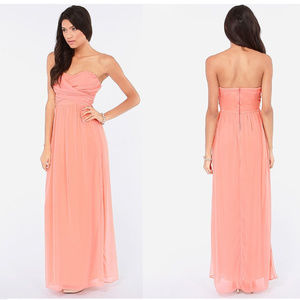 lulus peach coral strapless formal gown maxi dress